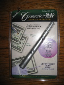 A Counterfeit Testing Pen is a MUST if you are selling at yardsales or on Craigslist!