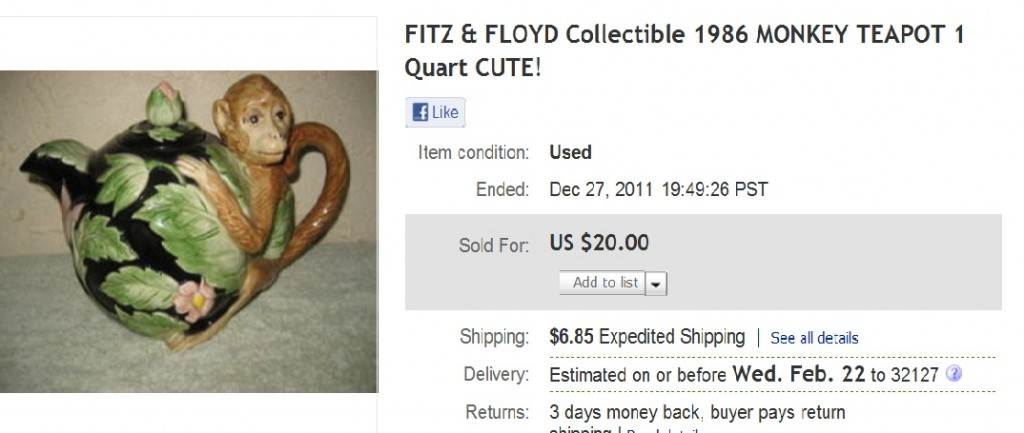 We wrote a lot about this Fitz & Floyd Monkey Teapot
